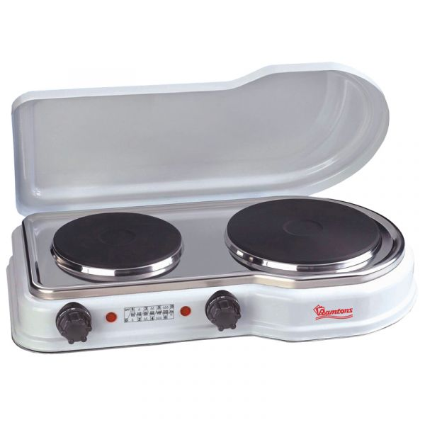 Solid Plate Cooker 2 Burner White Rm 252 Ramtons