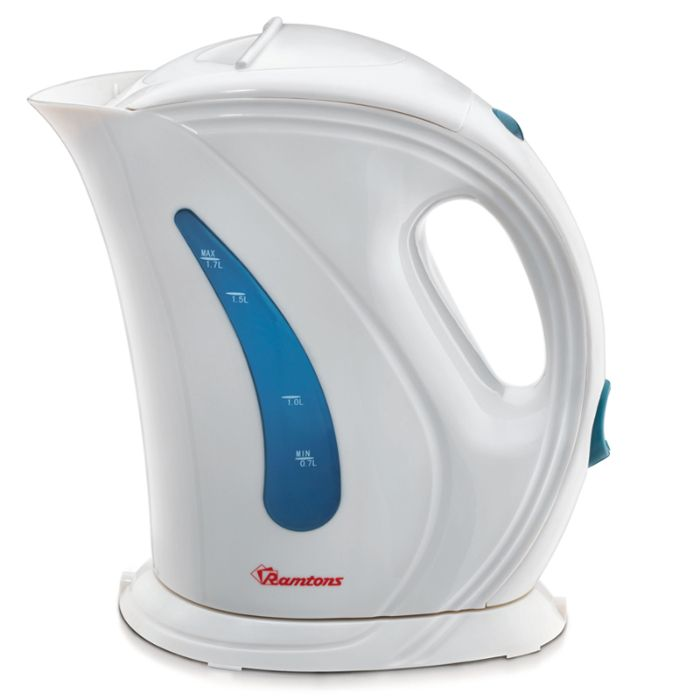 Ramtons Electric Kettle RM/225 in Kenya WHITE AND BLUE ELECTRIC CORDLESS KETTLE, 1.7 LITRES CAPACITY
