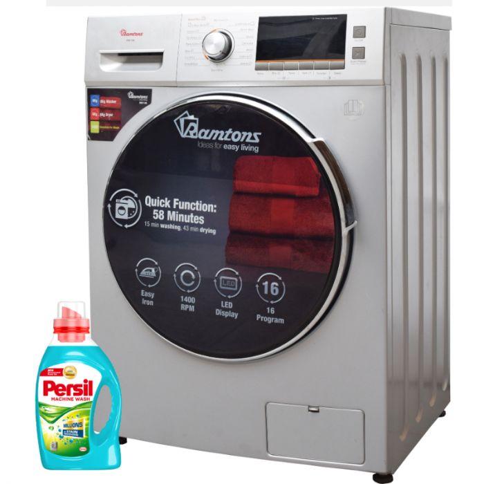 Ramtons Washing Machine RW/146 in Kenya, Washer 8Kg + Dryer 6Kg - Silver