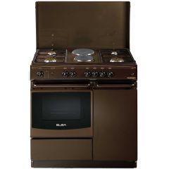 4 GAS BURNERS+ 2 ELECTRIC PLATES, DARK BROWN- EB/114