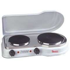 SOLID PLATE COOKER 2 BURNER WHITE- RM/252
